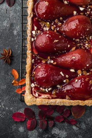 Peach Poached Pear Tart