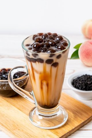 Black Tea Peach Bubble Tea